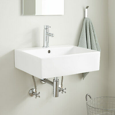 Signature Hardware Gabriel Rectangular Porcelain Wall Mount Bathroom Sink