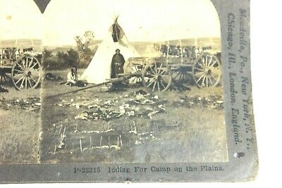 Native American Sioux Indian Plains Fur Camp -  Stereoview Keystone Card
