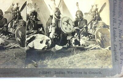 Native American  Indian  Warriors In Council Stereoview Keystone Card
