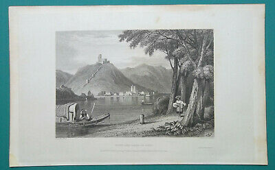 ITALY Town & Lake of Como - 1831 Antique Print Engraving