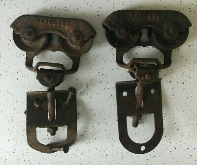 PAIR of Antique Myers Cast Iron Barn Door Rollers Hardware Farm Pulley