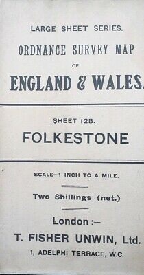 Antique vintage Folkestone Ordnance Survey Map 1 Inch 1 mile no 128 - 1909