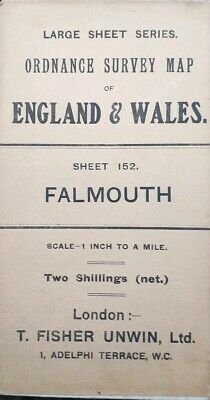 Antique vintage Falmouth Ordnance Survey Map 1 Inch 1 mile no 152 published 1909