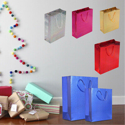 6x Holographic Paper Gift Bags Shiny Glossy Birthday Party Xmas Present Bags UK