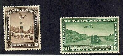 2x Newfoundland MH Airmail stamps #211ii Land/Sea Shifted O.P. C7-50c CV=$93.50