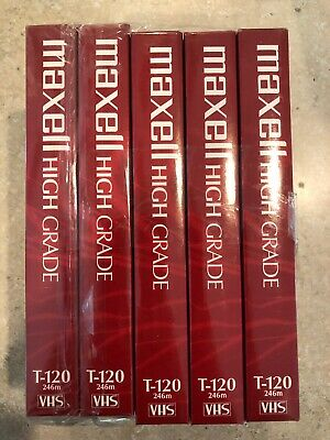 Blank VHS VCR Tape Lot Of 5 New Factory Sealed - 6hr Maxell High Grade!