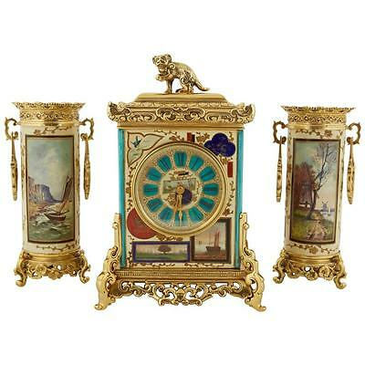 """French """"Japonisme"""" Aesthetic Movement Bronze and Porcelain Clock Garniture"""