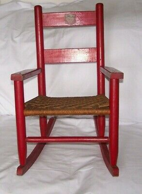 Vintage Child's Red Wood Rocking Chair Woven Bottom Kitten Decal 1940's -50's #1