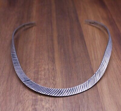 "Vintage TAXCO Mexico Diamond Cut ""Collar"" Necklace Sterling Silver 32 Grams"