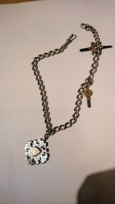 Antique Solid silver Albert chain and pocket watch keys/fob Chester.
