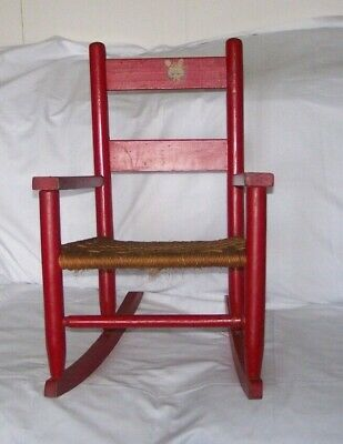 Vintage Child's Red Wood Rocking Chair Woven Bottom Kitten Decal 1940's -50's #2
