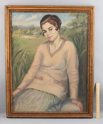 Vintage 1940s American Portrait Oil Painting of Young Woman & Tennis Court, NR