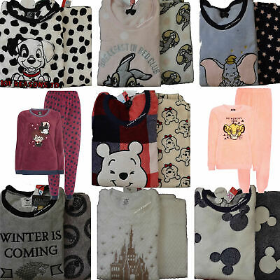 Ladies Fleece Pyjamas Disney Women's Warm Pajama Girls Cosy Winter PJ's Primark