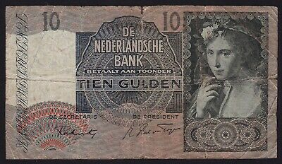Netherlands 10 gulden 1941 banknote P-56b Grapes Watermark
