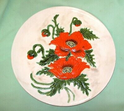 Vintage MID CENTURY   1955  IRENE SMITH Ceramic Wall Art PLATE  VIBRANT POPPIES