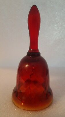Vintage Amberina Glass Bell Diamond Pattern Red And Yellow
