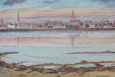 "Original Watercolour Painting"" Sunset Over Seaside Town"",Signed J R Middleton."