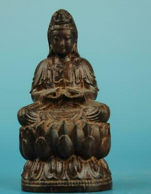 Chinese eaglewood hand-carved sit KWAN-YIN Buddha  Statue a02