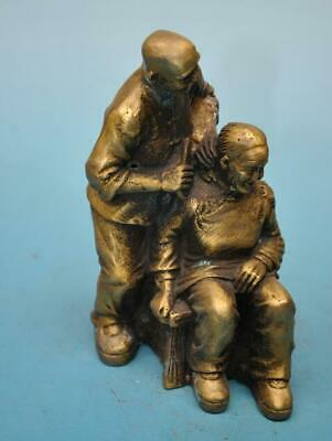 chinese old fengshui copper hand-carved Parents comb hair statue e02