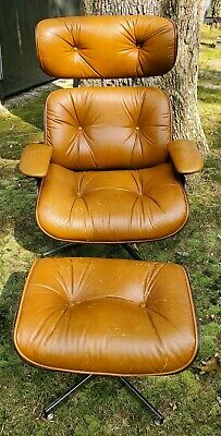 Vintage Leather Mid Century Chair Foot Stool Ottoman Eames Plycraft Selig