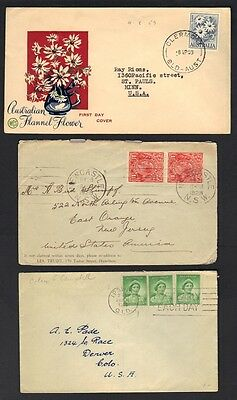 AUSTRALIA 1920-50's COLL OF 9 COMM & FDCs INC ROTARY INTL & VARIOUS CANCELS