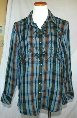 Free People Magical Plaid Shirt Medium Blue Brown Flannel Embroidered