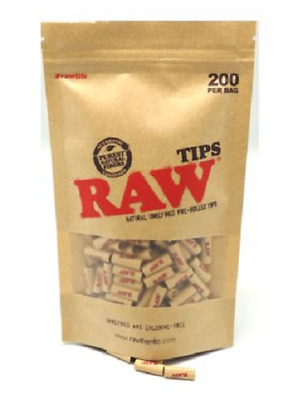 RAW Natural Unrefined Prerolled Filter Tips 200 Filters Tip Bag Cigarette Roll