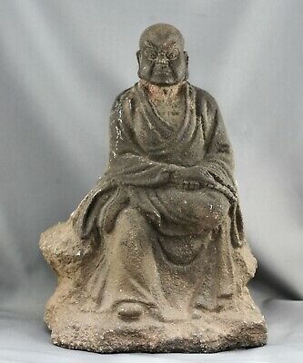 Spectacular Antique Chinese Solid Rock Carving Of A Lohan Monk Statue c1700s