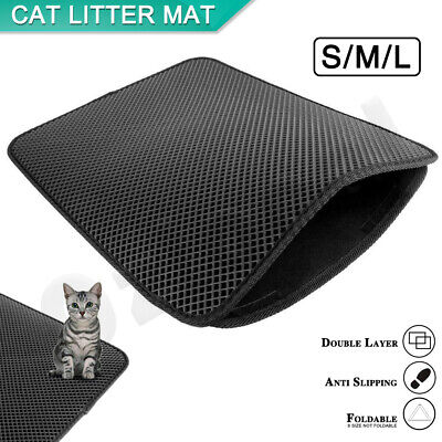 Double-Layer Cat Litter Mat Waterproof Trapper Foldable Pad Pet Rug Home Urine