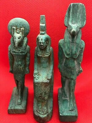 Rare Ancient Egyptian Antiques 3 Statue Of Gods Anubis And Isis And Khnum Stone