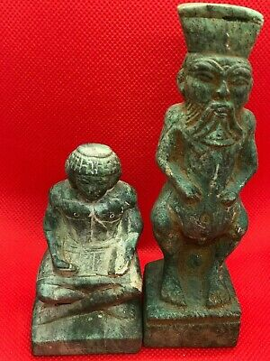 Rare Ancient Egyptian Antiques 2 Statue Of God Bes And Writrer Stone Bc