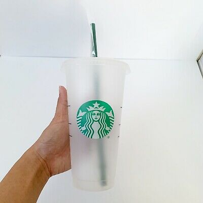 STARBUCKS Reusable Venti 24 OZ Frosted Ice Cold Drink Cup RARE Brand New