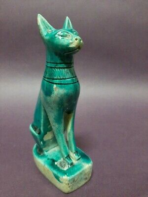 ANCIENT EGYPTIAN ANTIQUES BASTET Cat Pharaoh Ubasti Statue Glazed Stone EGYPT BC