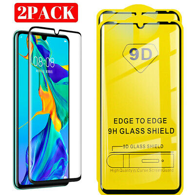 2X Huawei P30 9D Full Cover Tempered Glass Screen Protector For Huawei P30
