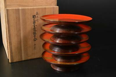 U56: Japanese Wooden Lacquer ware SERVING PLATE/dish 5pcs, w/signed box