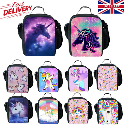 UK Kids Girls Unicorn Insulated Lunch School Bag Picnic Snack Lunchbox 25x20cm