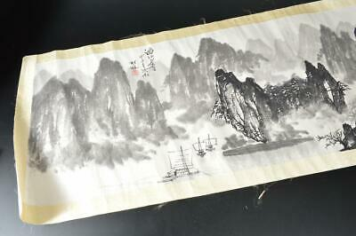 U830: Chinese Paper Landscape pattern SCROLL Calligraphy Tea Ceremony