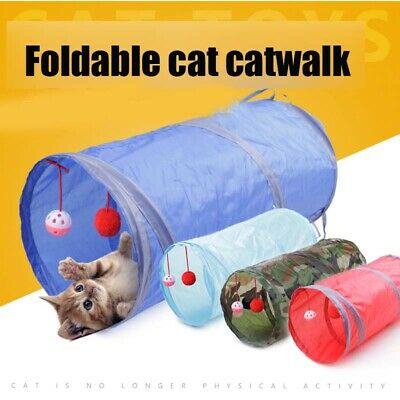 Funny Pet Dog Cat Tunnel  Play Tubes Balls Puppy Fold-able Exercise Tunnel Toys