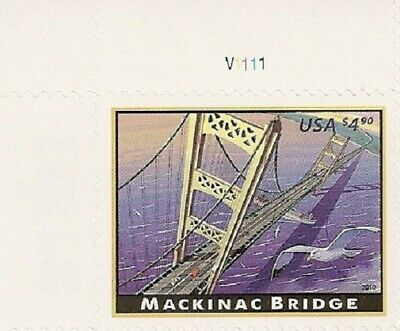 US 4438 Priority Mail Mackinac Bridge $4.90 plate single UL MNH 2010