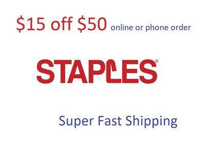 Staples $15 off $50 Online or Phone Order Expires 9/15/2019