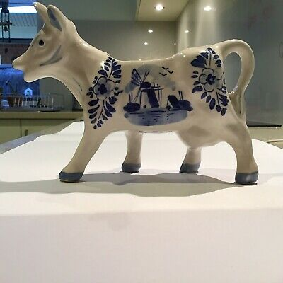 Hand Painted Delfts Blue Cow Jug In Perfect Condition