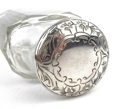 Antique Victorian Sterling Silver & Glass Bottle Jar Screw Top Lid London 1900