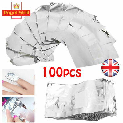 100pc NAIL FOIL GEL WRAPS POLISH REMOVER ART SOAK OFF ACRYLIC REMOVAL NO ACETONE