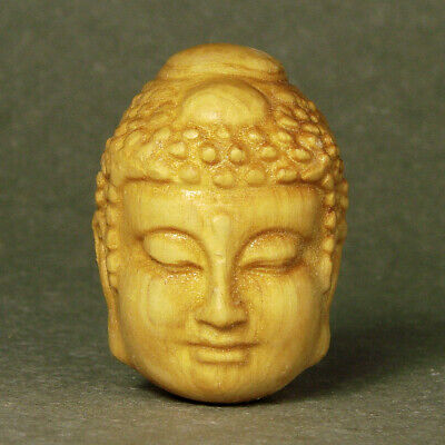Antique Japanese Wood Netsuke Boxwood Handicraft 2 Face Buddha Carving WN945