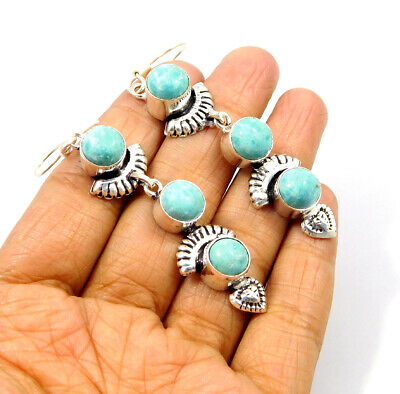 Heated Larimar Handmade Earring Silver Plated Fashion Jewelry JC9547