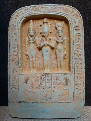 RARE ANCIENT EGYPTIAN ANTIQUES ORISIS, ISIS , HORUS Palque With Hieroglyphics 13