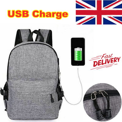 Anti-theft Mens USB with Charger Port Backpack Notebook Laptop Travel School Bag