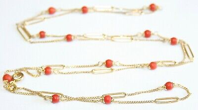 Gorgeous Vintage 9ct Yellow Gold Coral Necklace 28'' Inches Long