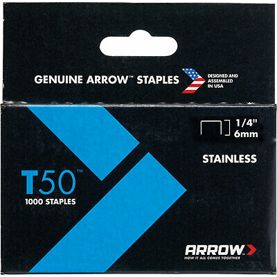 Arrow T50 Stainless Steel Staples 6mm Pack of 1000