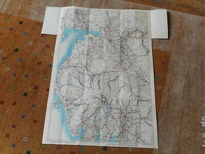 VINTAGE FOLD OUT ROAD MAP of CARLISLE&DISTRICT--23x34inches